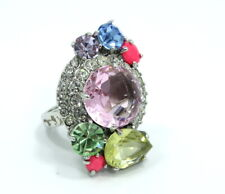 STATEMENT JUICY COUTURE Multi Color Stones Crystals Rhinestone SILVER Toned Ring