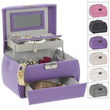 Gorgeous Faux Leather Jewellery Box 3 Tier Vanity Style / Removable Travel Box