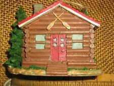 Midwest of Cannon Falls Log Cabin w Red Door & Roof Paddles or Oars Ornament
