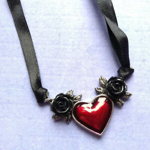 Alchemy Gothic Pewter Red Blood Heart Black Rose Choker Necklace UK Made P746