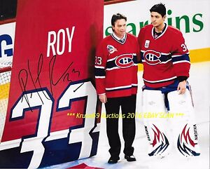 PATRICK ROY #33 Retired 2 Rafters w/Carey Price AUTO Signed 8x10 CANADIENS HOF