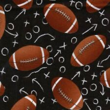 Footballs Tossed on Black B/G w/Plays-Timeless Treasures-BTY-Football-Sports-Boy