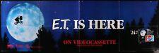 "E.T. IS HERE ON VIDEOCASSETTE, vtg 1988 PEPSI / MCA promo poster banner, 56x18"""