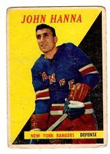 1X JOHN HANNA 1958-1959 Topps #7 RC Rookie VG 58-58 NY Rangers