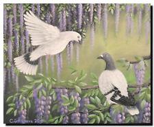 Acrylmalerei Christiane Schwarz; TAUBEN IM BLAUREGEN ca. 50x40cm, Vogelmalerei