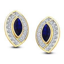 Hallmarked Ladies 9ct Yellow Gold & Blue Sapphire CZ Gemstone Jewelry Earrings