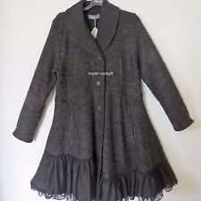 KEKOO cooler Luxus Mantel mit Tüll A-Linie anthrazit-schwarz 44-46 (2)