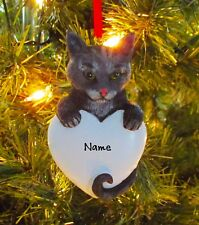 Gray Tabby Cat Personalized Christmas Tree Ornaments