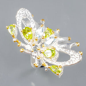 Jewelry Handmade Peridot Ring Silver 925 Sterling  Size 6.75 /R165309