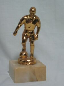 vintage soccer trophy metal faux marble base 1950's league champ football player