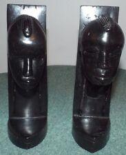 Vintage Hand Carved African Tribal Figures Ebony Wood Sculpture Bookends.