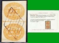 ITALY REGNO 1863 SEGNATASSE CIFRA in OVALE COPPIA n.1b 10c US CERTIF LUSSO