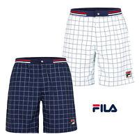 Fila Mens Vintage Windowpane Pattern Shorts Retro 80s Gym Sport Bermuda Bottoms