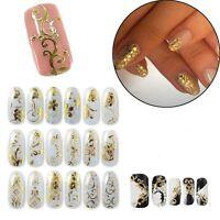 108pcs/Sheet Sticker Nail Manicure Stickers Candy 3D Gold Metallic Flowers Decal