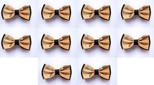 LOT OF 10 Warm Tan Center Black Back Men's Adjustable Bowties/Bow tie Tuxedo