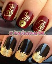 NAIL ART SET #49. ORIENTAL LUCKY CAT WATER TRANSFERS/DECALS/STICKERS & GOLD LEAF
