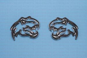 """2 Dinosaur T-Rex Emblem Fits Dodge Ram TRX Logo 1500 3.25""""x2.75"""" Black Chrome"""