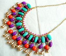 Purple & Turquoise Beads Zara Statement Necklace_Beautiful Design_Gold, Orange,
