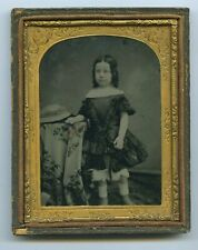More details for 1/4 plate ambrotype of girl in black dress & hat c1860s