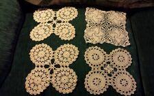 "Vintage ~ 4 Crochet Square Doilies ~ 3 Ivory & 1 White ~ 8 1/2"" x 8 1/2"""