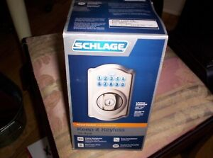 Schlage Keypad Deadbolt,Camelot Style,Satin Nickel,BE365VCAM619,New in Box