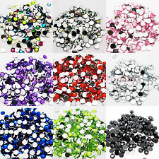 1000 Crystal Rhinestone Silver Flat Back Diamante Acrylic Gem 1 2 3 4 5 6 8 10mm