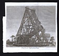 1809 Astronomy Print Herschel's 40 Foot Reflecting Telescope, Berkshire England