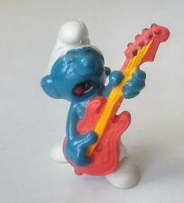 RARE VINTAGE 1980 SMURFS PEYO SCHLEICH SMURF WITH ORANGE GUITAR HONG KONG