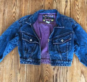 Vintage JORDACHE NO EXIT Denim Jean Cropped Jacket Juniors Size M 80s