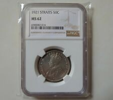 8Straits Settlements 50 cent 1921 silver coins NGC MS62