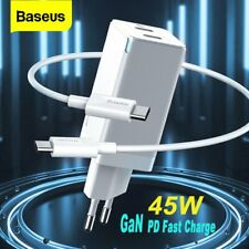 Baseus GaN 45W PD USB Type C Wall Charger Quick Charge Adapter EU Plug+60W Cable