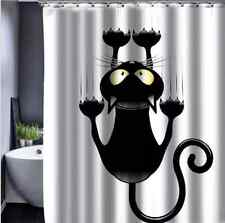 Funny Novelty Cat Print  Waterproof Bathroom Drape Hook Shower Curtain DIY