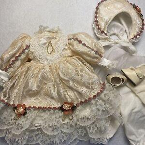 "Lace Doll Dress Victorian Style Bonnet Vintage For 15"" Dolls Shoes Socks"