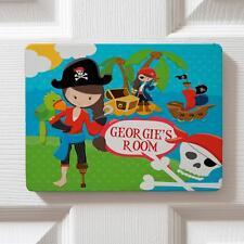 Personalised Pirate Girl Children's Bedroom Door Girls Name Sign Plaque DPE31