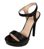 Delicious Women's Odion Ankle Strap Open Toe High Heel Platform Sandals in Black