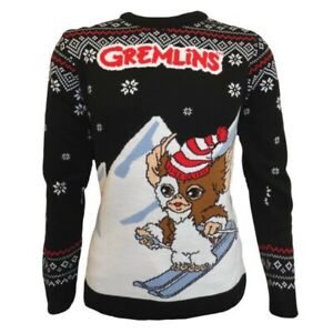 Gremlins Gizmo Skiing Knitted Xmas Jumper Size XL