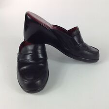 """Tommy Hilfiger Womans Black Leather Wedge Slip on Mules 6.5 M 3"""" Heel Round toe"""
