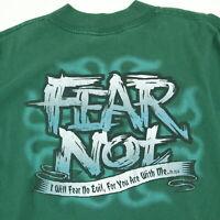 Vtg 90s Fear Not Christian Theme T-Shirt 2XL No Fear Parody Paint Distress Faded