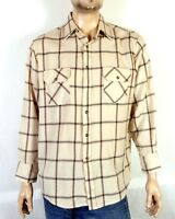 vtg 70s 80s Northwest Territory Soft Flannel Shirt Windowpane Check Cream sz L