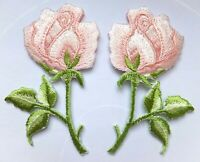 ROSE FLOWER PATCH x 2, PINK, matching pairs *SEW-ON/IRON-ON* embroidered badges