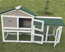 GREY RABBIT HUTCH GUINEA PIG HUTCHES RUN RUNS 2 TIER DOUBLE DECKER CAGE 5FT
