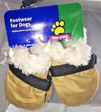 "Top Paw Footwear For Dogs Booties Faux Suede Brown Large ""A"""