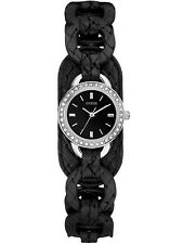 NEW-GUESS SILVER TONE,BLACK BRAIDED LEATHER BAND,CRYSTAL,MINI WATCH-W70027L2