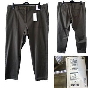 Per Una M&S Women Trouser UK 22 Khaki Green Chino Jeans Pockets Ankle Grazer NEW