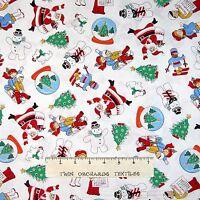 Storybook Christmas Fabric - 30s Repro Santa Kids Snowman White - Windham YARD