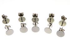 10 Stück 925 Silber Ohrstecker Rohlinge 8mm rhodiniert(FF32)