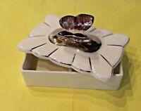 Ancienne boîte à bijoux couvercle papillon butterfly vintage céramique