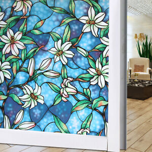 Frosted Static Cling Stained Flower Glass Window Film Sticker Privacy Home Decor