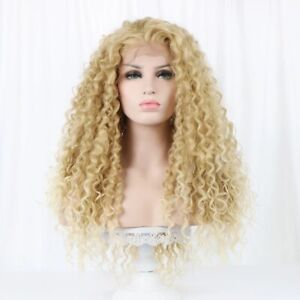 Natural Kinky Womens Light Blonde ombre lace front synthetic Full Curly Hair Wig