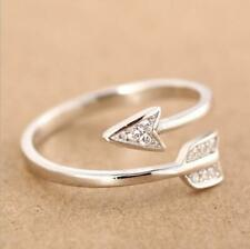 Adjustable Silver Plated Arrow Crystal Rings for Women